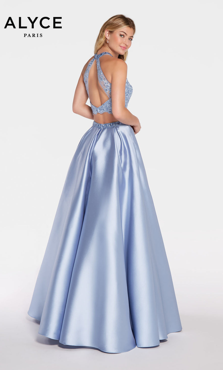 Alyce Paris 1312 prom dress images.  Alyce Paris 1312 is available in these colors: Emerald,  Periwinkle,  Royal,  French Pink.