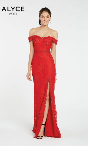 Alyce Paris 1393 prom dress images.  Alyce Paris 1393 is available in these colors: Red,  Navy,  Malibu.