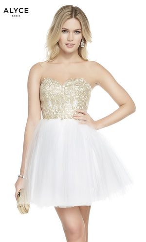 Alyce Paris 1486 prom dress images.  Alyce Paris 1486 is available in these colors: Diamond White Gold, French Pink Gold.