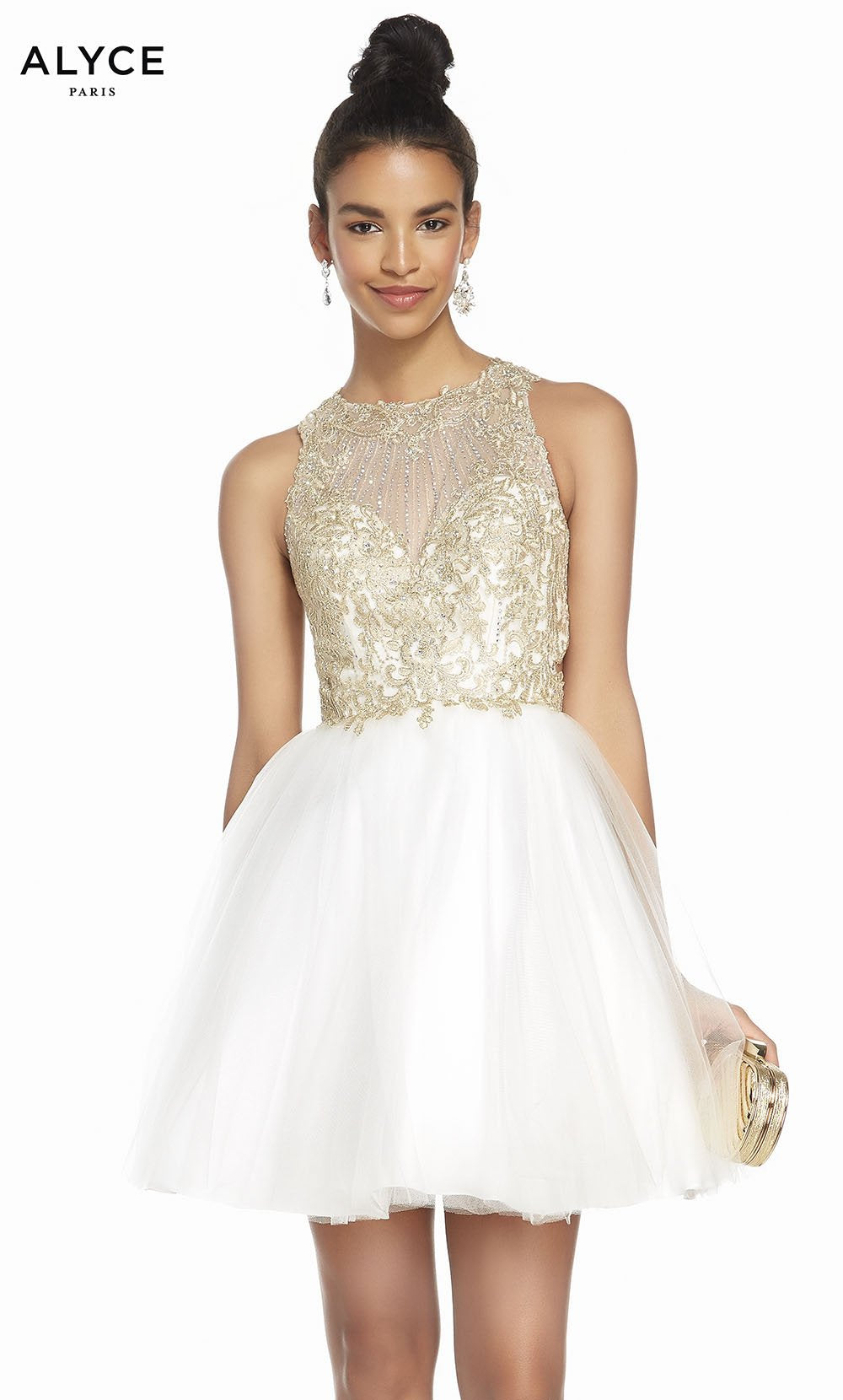 Alyce Paris 1487 prom dress images.  Alyce Paris 1487 is available in these colors: Ivory Gold.