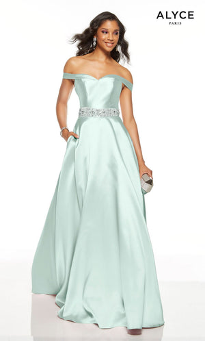 Alyce Paris 1502 prom dress images.  Alyce Paris 1502 is available in these colors: Pink Alabaster, Sea Glass, Red, French Blue, Midnight.
