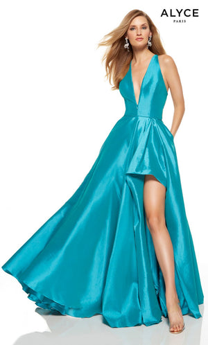 Alyce Paris 1520 prom dress images.  Alyce Paris 1520 is available in these colors: Lagoon Blue, Neon Coral, Unicorn  Violet , Ultraviolet, Lime.
