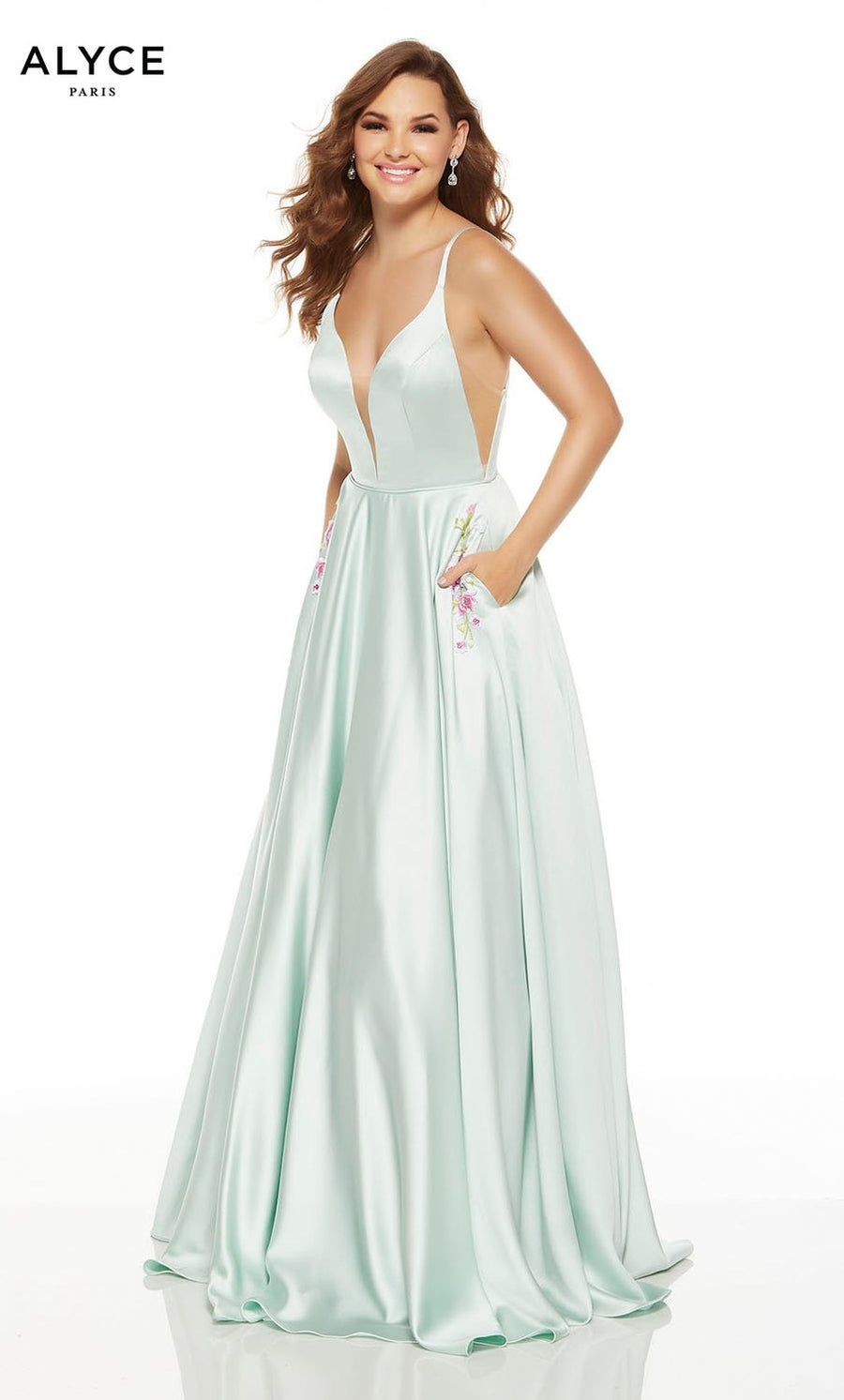Alyce Paris 1548 prom dress images.  Alyce Paris 1548 is available in these colors: Sea Glass, Chalk Pink.