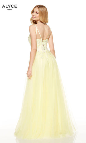 Alyce Paris 1554 prom dress images.  Alyce Paris 1554 is available in these colors: Lemon Drop, Chalk Pink, Silver Lake.