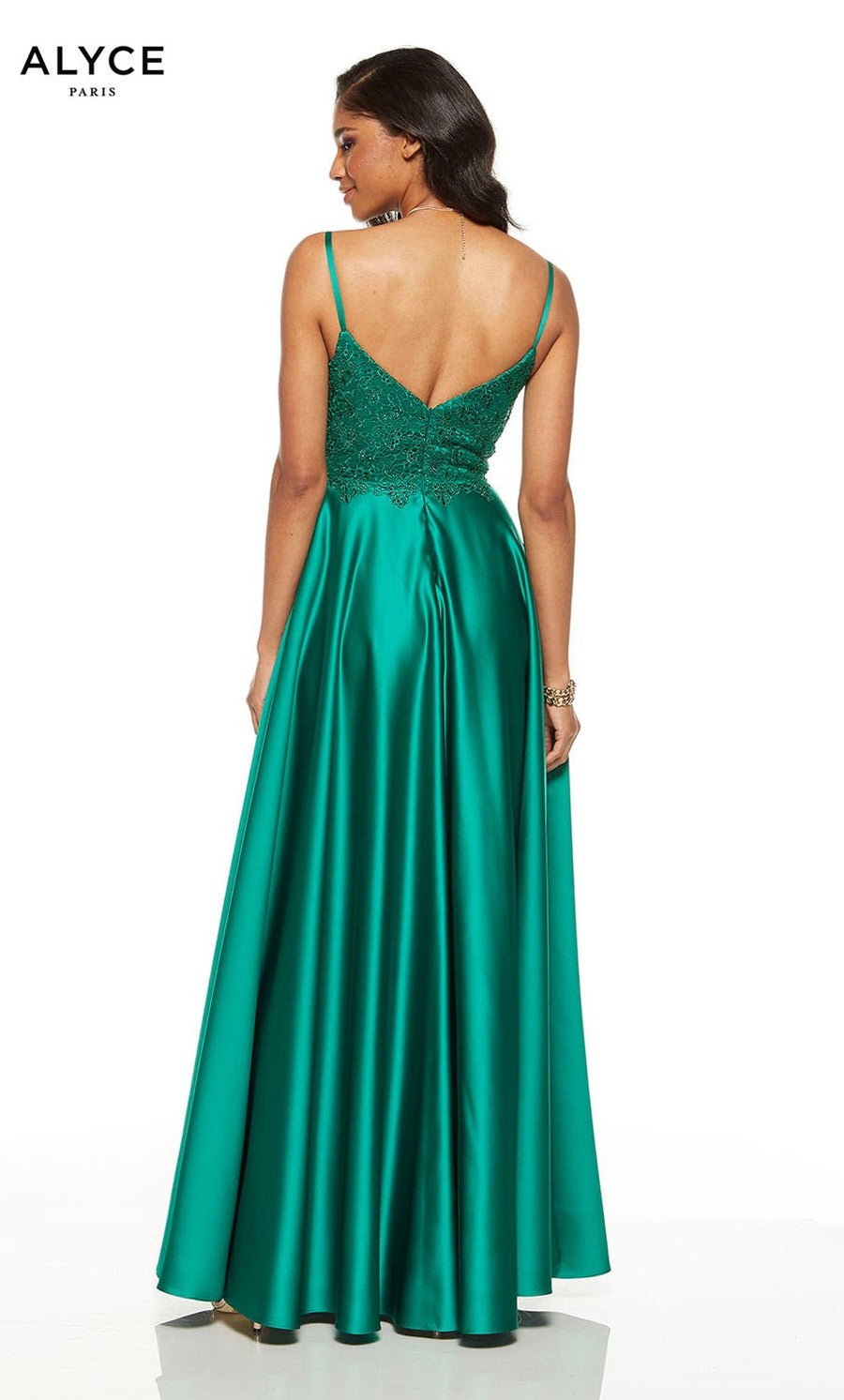 Alyce Paris 1555 prom dress images.  Alyce Paris 1555 is available in these colors: Emerald, Midnight, Red.