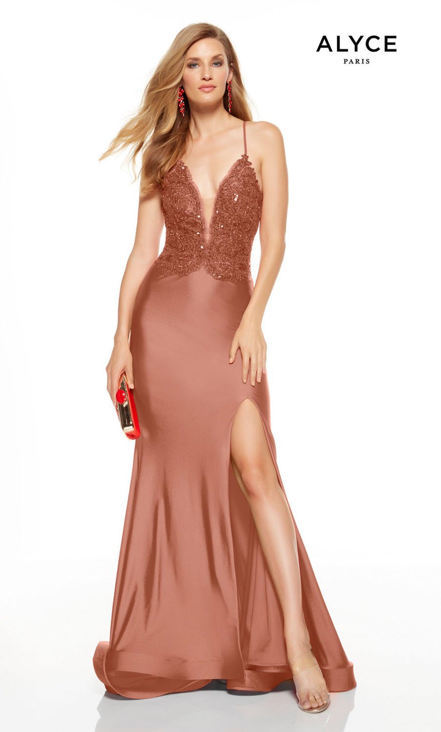 Alyce Paris 1562 prom dress images.  Alyce Paris 1562 is available in these colors: Red, Honey, Cameo Pink, Black Cherry.