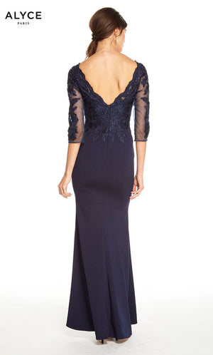 Alyce Paris 27333 prom dress images.  Alyce Paris 27333 is available in these colors: Navy, Burgundy.