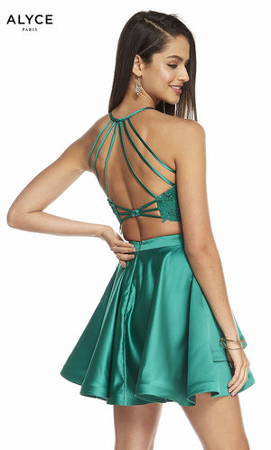 Alyce Paris 3825 prom dress images.  Alyce Paris 3825 is available in these colors: Emerald, Cashmere Rose, Raspberry, Midnight.