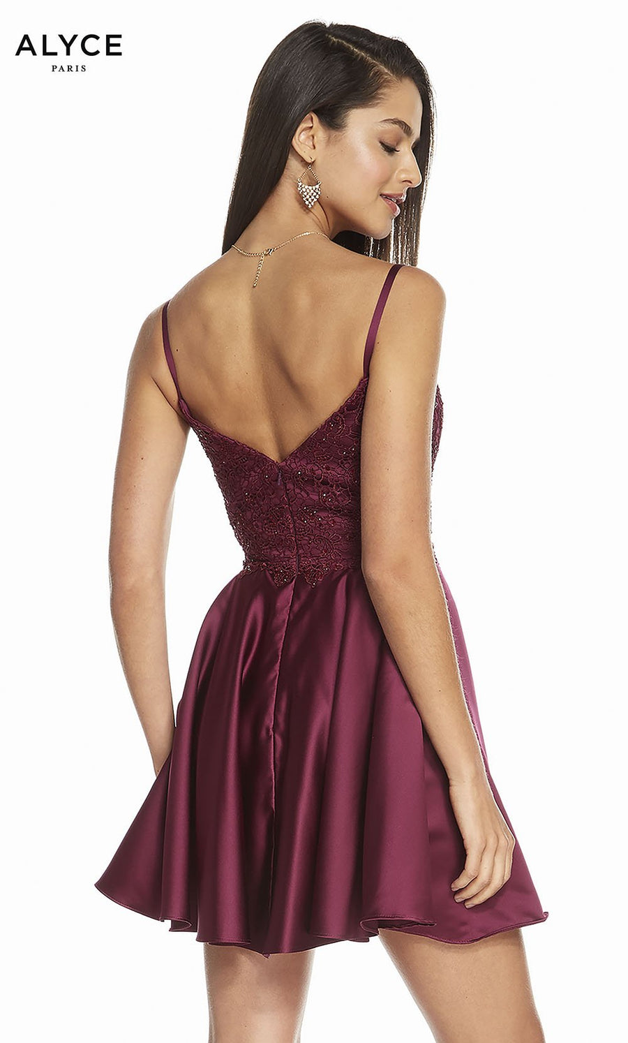 Alyce Paris 3848 prom dress images.  Alyce Paris 3848 is available in these colors: Black Cherry, Raspberry.