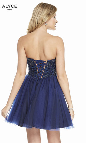 Alyce Paris 3855 prom dress images.  Alyce Paris 3855 is available in these colors: Cashmere Rose, Navy Black.