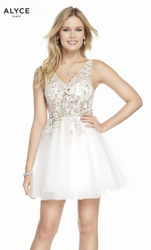 Alyce Paris 3863 prom dress images.  Alyce Paris 3863 is available in these colors: Diamond White.