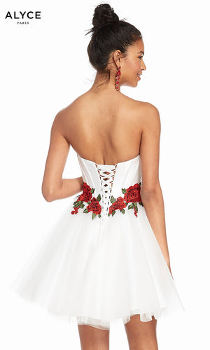 Alyce Paris 3867 prom dress images.  Alyce Paris 3867 is available in these colors: Black Red Rose, Diamond White Red.
