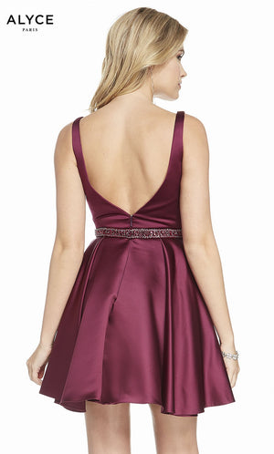 Alyce Paris 3877 prom dress images.  Alyce Paris 3877 is available in these colors: Black Cherry, Emerald, Raspberry, Midnight.
