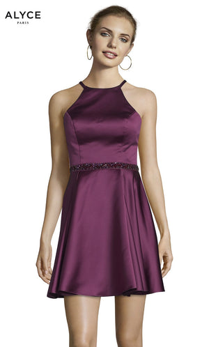 Alyce Paris 3878 prom dress images.  Alyce Paris 3878 is available in these colors: Midnight, Black Plum, Emerald.