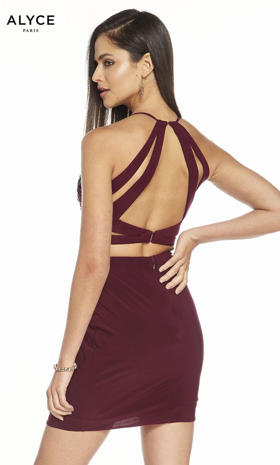 Alyce Paris 4123 prom dress images.  Alyce Paris 4123 is available in these colors: Black Plum.
