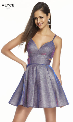 Alyce Paris 4183 prom dress images.  Alyce Paris 4183 is available in these colors: Blueberry, Bright Purple.