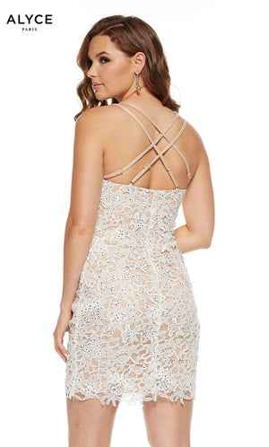 Alyce Paris 4225 prom dress images.  Alyce Paris 4225 is available in these colors: Diamond White Malibu.