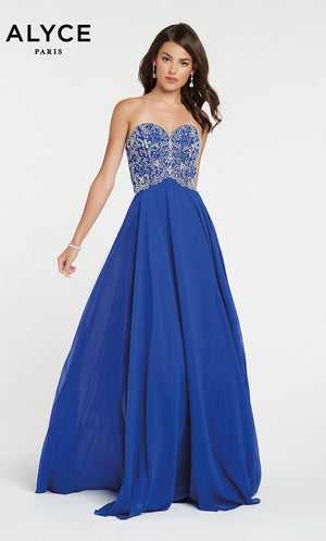 Alyce Paris 60351 prom dress images.  Alyce Paris 60351 is available in these colors: Blush Silver,  Royal Silver.