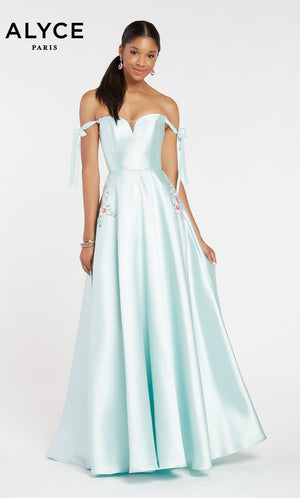 Alyce Paris 60499 prom dress images.  Alyce Paris 60499 is available in these colors: Black,  Shell,  Sea Glass,  Ice Blue.
