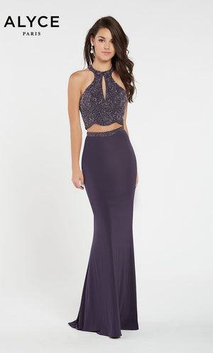 Alyce Paris 60541 prom dress images.  Alyce Paris 60541 is available in these colors: Light Blue Silver,  Charcoal,  D Rose Solid.