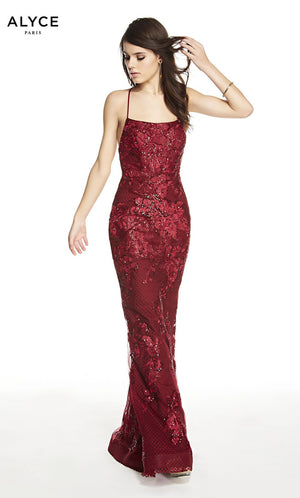 Alyce Paris 60594 prom dress images.  Alyce Paris 60594 is available in these colors: Wine.