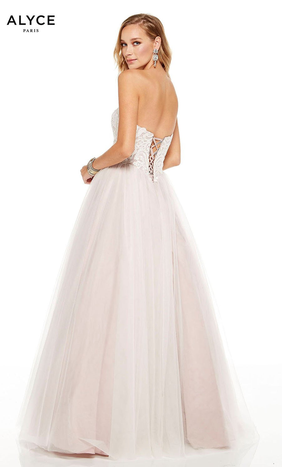 Alyce Paris 60617 prom dress images.  Alyce Paris 60617 is available in these colors: Cashmere Rose, Diamond White Seaglass, Diamond White Solid.