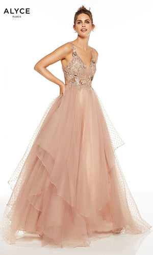 Alyce Paris 60667 prom dress images.  Alyce Paris 60667 is available in these colors: Latte, Diamond White.