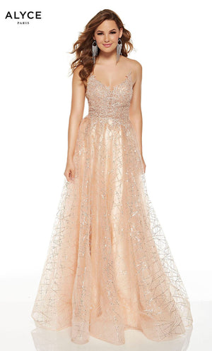 Alyce Paris 60683 prom dress images.  Alyce Paris 60683 is available in these colors: Champagne.
