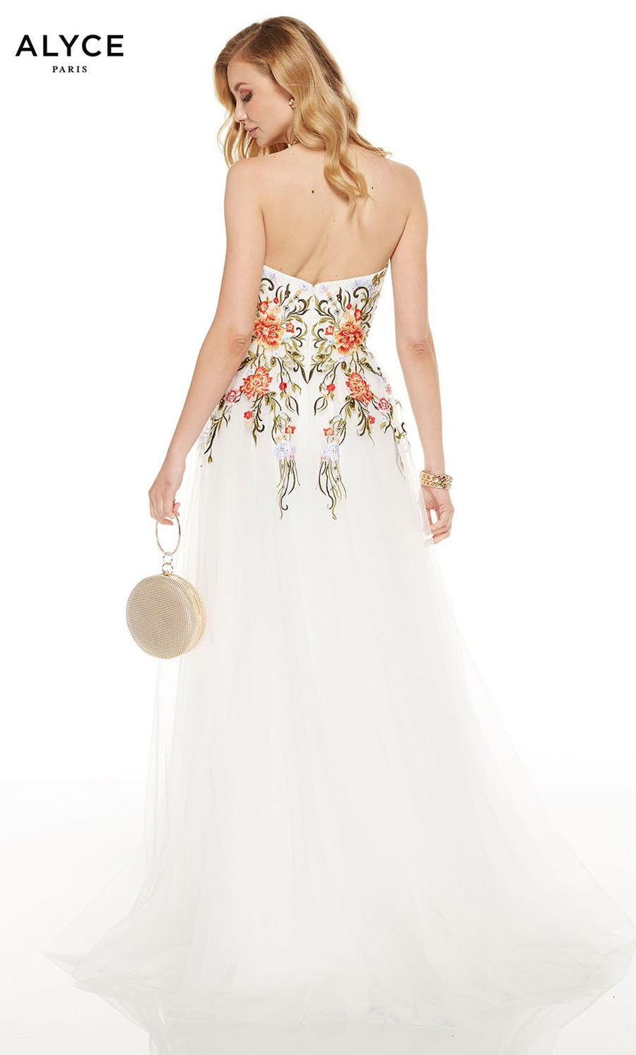 Alyce Paris 60699 prom dress images.  Alyce Paris 60699 is available in these colors: Diamond White Multi.