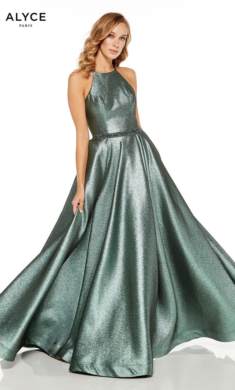 Alyce Paris 60717 prom dress images.  Alyce Paris 60717 is available in these colors: Opal, Metallic Purple, Glacier Blue, Metallic Sage.