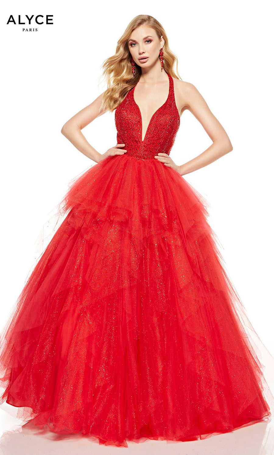 Alyce Paris 60749 prom dress images.  Alyce Paris 60749 is available in these colors: Red, Opal.