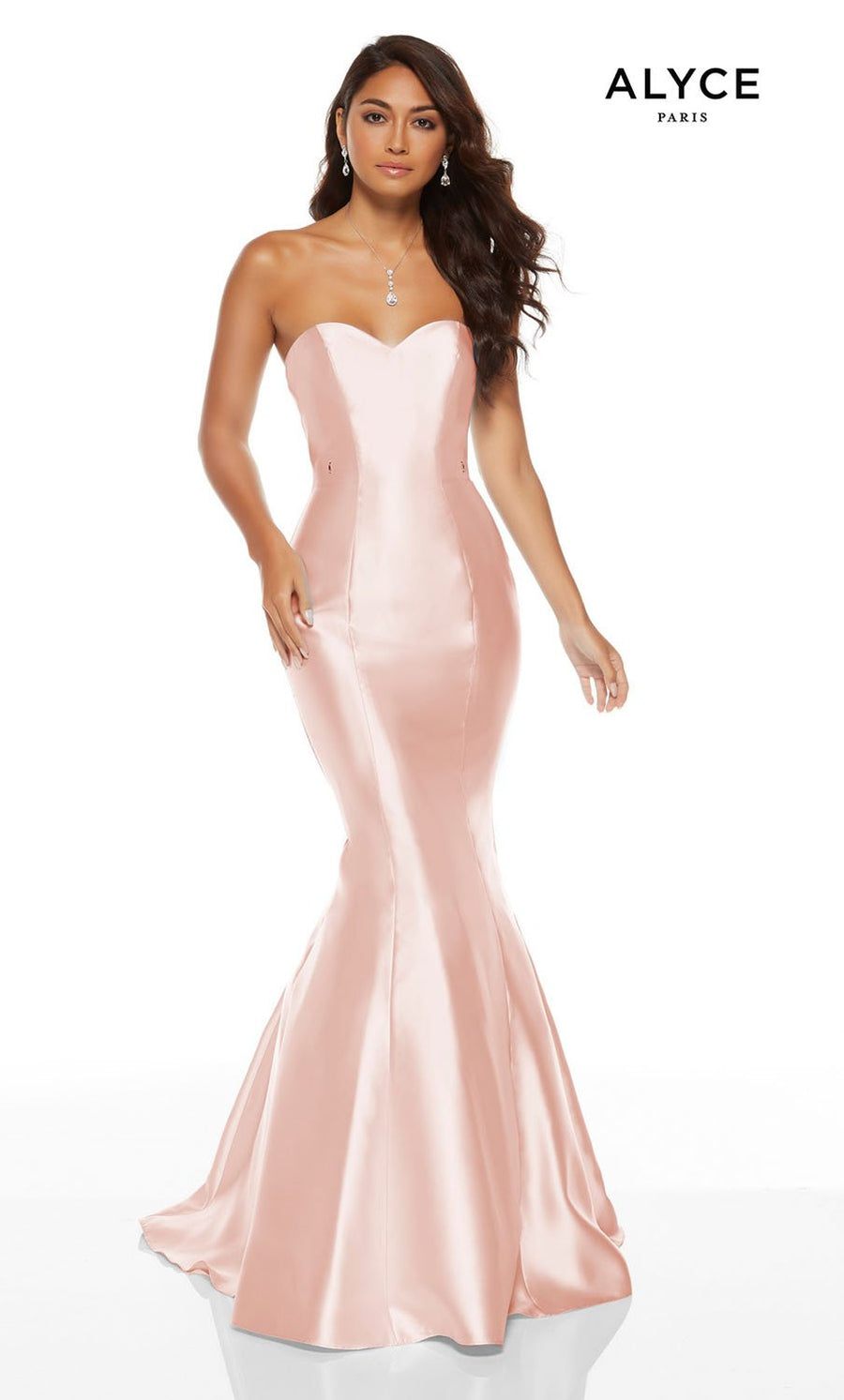 Alyce Paris 60758 prom dress images.  Alyce Paris 60758 is available in these colors: Powder Blue, Diamond White, Blush.