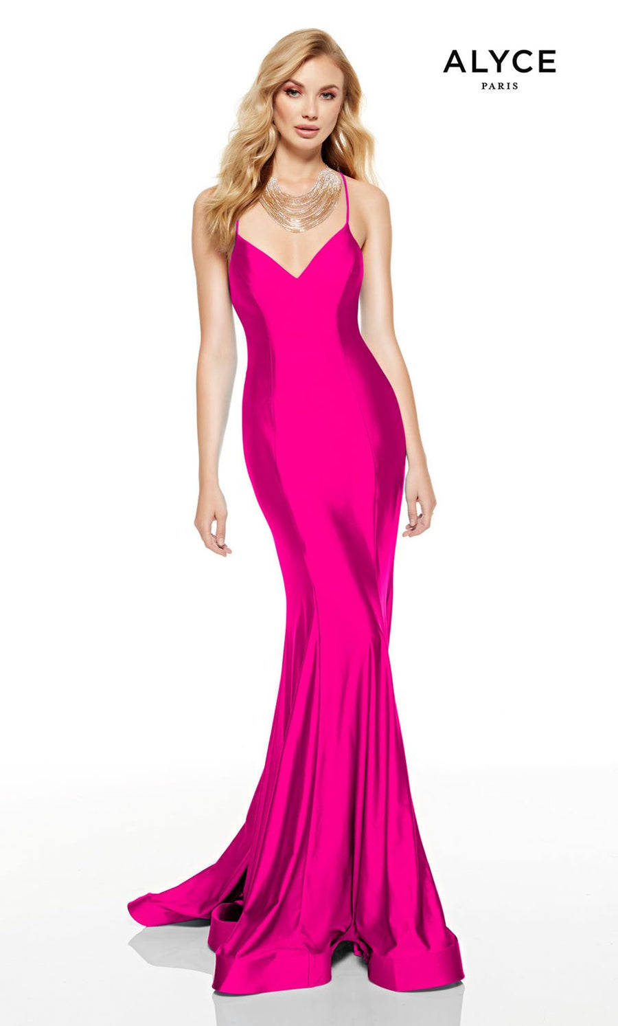 Alyce Paris 60764 prom dress images.  Alyce Paris 60764 is available in these colors: Electric Fuchsia, Ocean, Cashmere Rose, Emerald, Red.