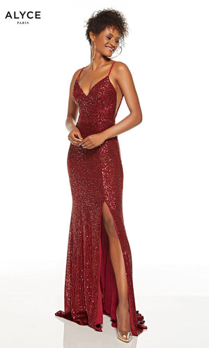 Alyce Paris 60813 prom dress images.  Alyce Paris 60813 is available in these colors: Wine, Black.