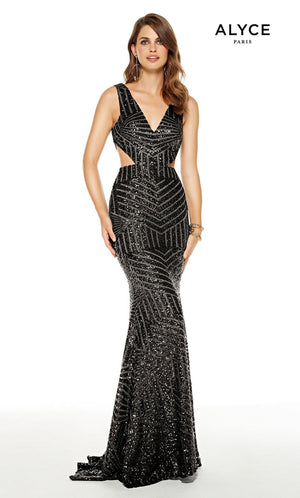 Alyce Paris 60816 prom dress images.  Alyce Paris 60816 is available in these colors: Pine, Black, Rosegold.