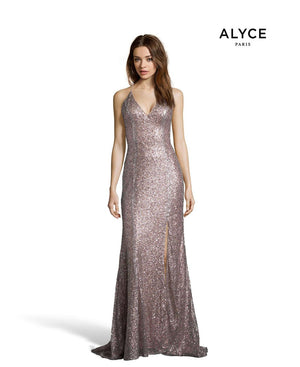 Alyce Paris 60822 prom dress images.  Alyce Paris 60822 is available in these colors: Opal, Charcoal, Rosegold, Blue Coral, Wine, Soft Heather.