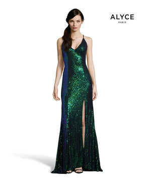 Alyce Paris 60823 prom dress images.  Alyce Paris 60823 is available in these colors: Tangerine, Hyper Pink, Chameleon, Unicorn  Violet , Citronelle.
