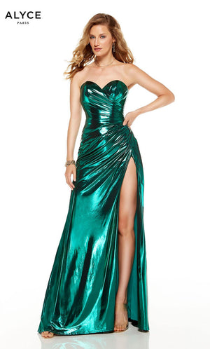 Alyce Paris 60851 prom dress images.  Alyce Paris 60851 is available in these colors: Emerald, Rosegold, Dripping Diamonds  Silver , Electric Fuchsia.