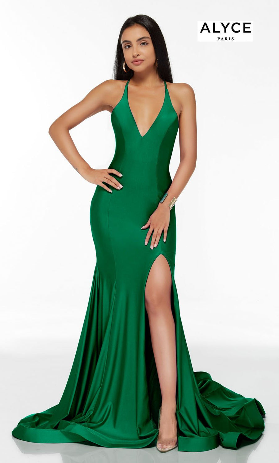 Alyce Paris 60866 prom dress images.  Alyce Paris 60866 is available in these colors: Barbie Pink, Ocean, Violet, Emerald.