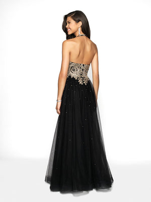 Blush Prom 11706 prom dress images.  Blush Prom 11706 is available in these colors: Black Gold, Navy Gold, Off White Gold.