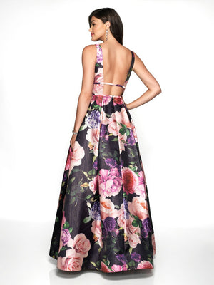 Blush Prom 11735 prom dress images.  Blush Prom 11735 is available in these colors: Black Floral Print, Off White Floral Print.
