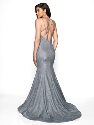 Blush Prom 11761 prom dress images.  Blush Prom 11761 is available in these colors: Ab White Shimmer, Black Shimmer, Steel Blue Shimmer.