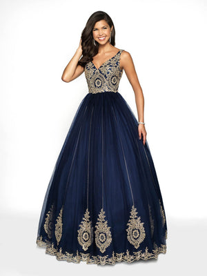 Blush Prom 5710 prom dress images.  Blush Prom 5710 is available in these colors: Black Gold, Navy Gold.