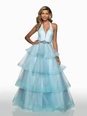 Blush Prom C2107 prom dress images.  Blush Prom C2107 is available in these colors: Powder Blue, Yellow.