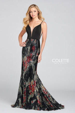 Colette CL12102 prom dress images.  Colette CL12102 is available in these colors: Black Multi.