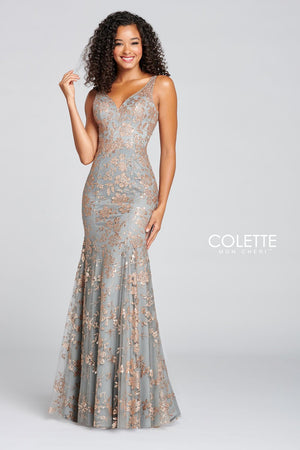 Colette CL12105 prom dress images.  Colette CL12105 is available in these colors: Gold Pewter.