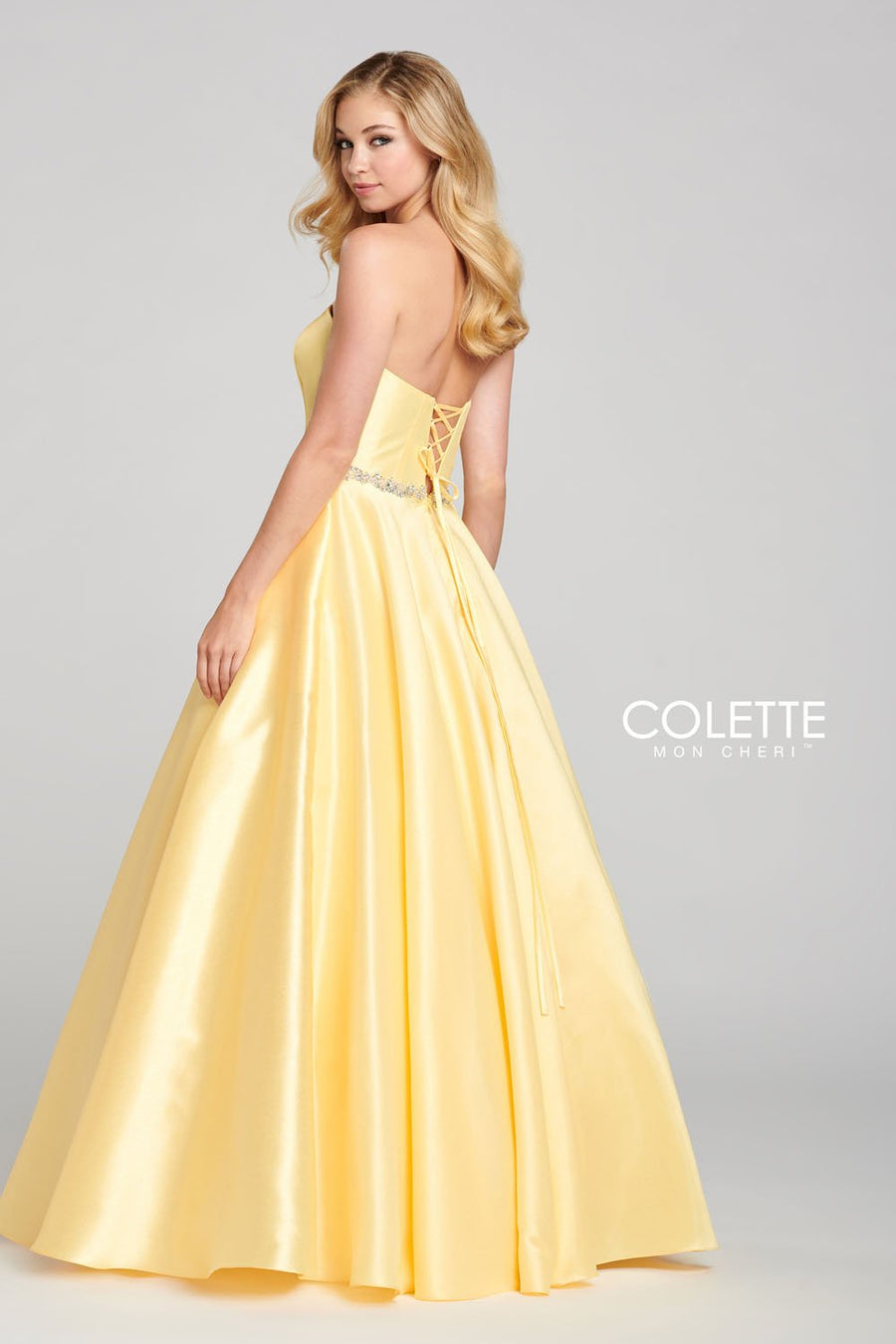 Colette CL12108 prom dress images.  Colette CL12108 is available in these colors: Aqua, Pink, Sunflower.