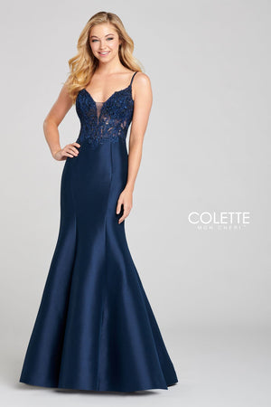Colette CL12112 prom dress images.  Colette CL12112 is available in these colors: Midnight, Lipstick.