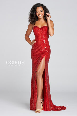 Colette CL12118 prom dress images.  Colette CL12118 is available in these colors: Glam Red, Perfect Plum.