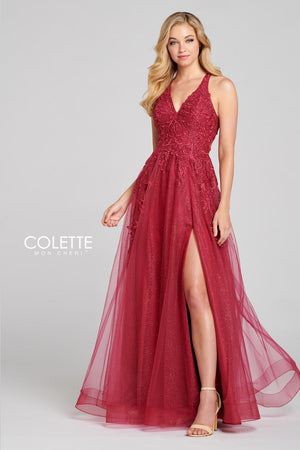 Colette CL12120 prom dress images.  Colette CL12120 is available in these colors: Berry, Aqua.